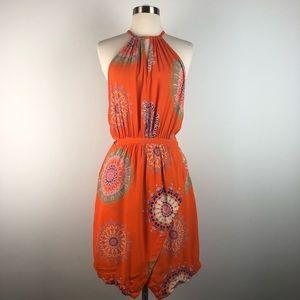 Floreat Livia Orange Geometric Halter Sheath Dress